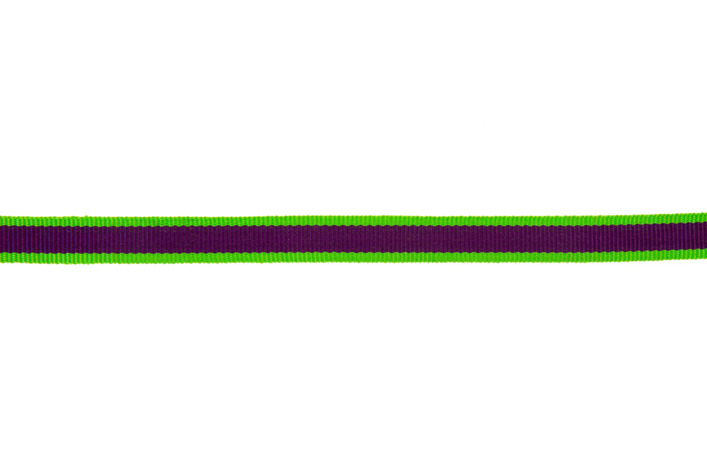 10m Roll Purple Ribbon with Lime Green Edging