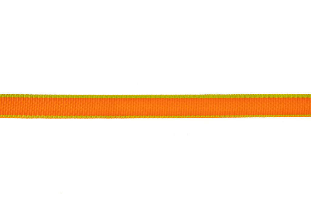 10m roll Tangerine Orange Ribbon with Lime Edging