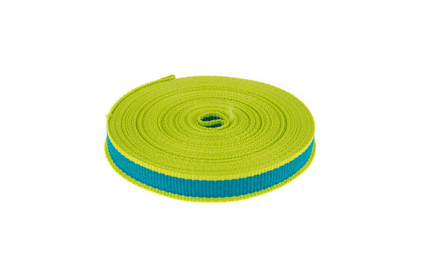 10m roll Teal Coloured Grosgrain Ribbon with Lime Green Edging