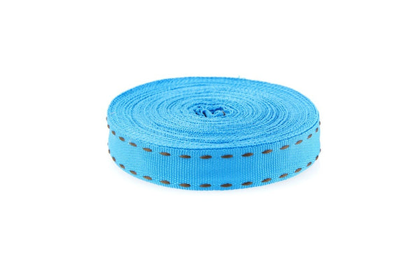 10m roll Turquoise Ribbon with Brown Stitching