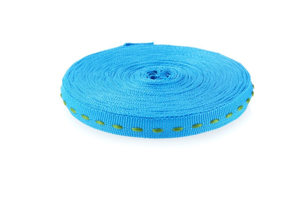 10m roll Turquoise Ribbon with Green Stitching