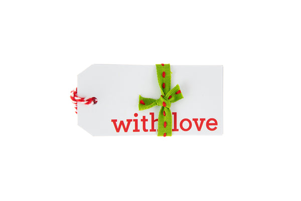 6 White With Love Gift Tags printed in Red
