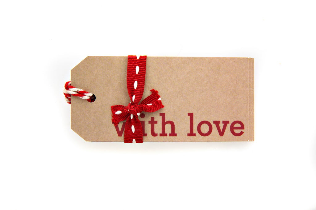 6 Brown With Love Gift Tags printed in Red