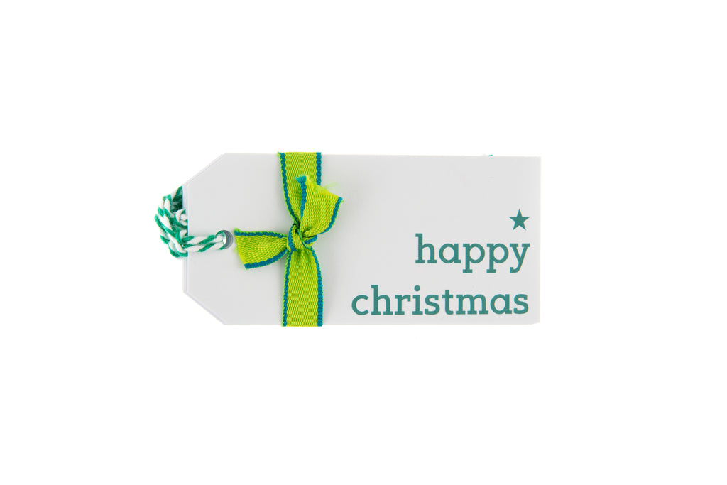6 White Happy Christmas Gift Tags Printed in Green