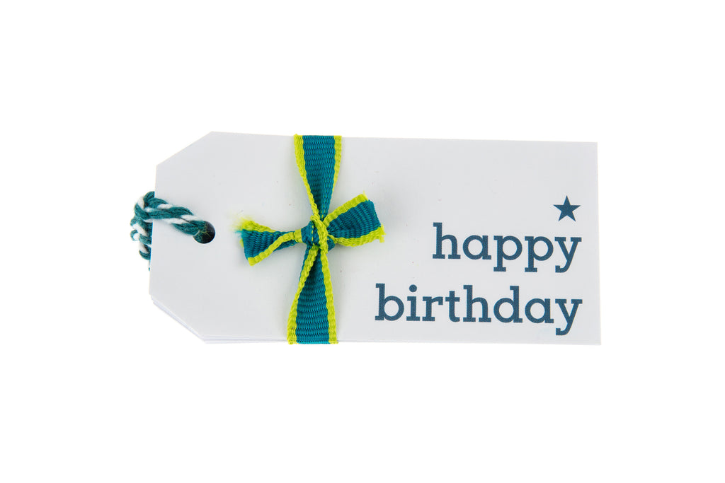6 White Happy Birthday Gift Tags Printed in Teal