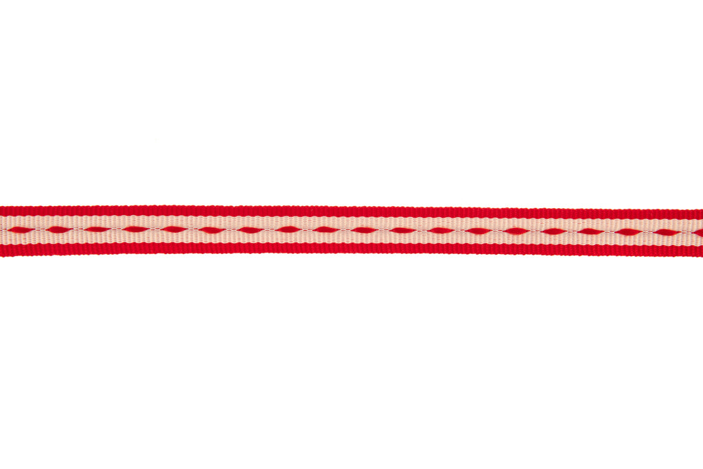 10m Roll Off-White Ribbon with Red Stitching