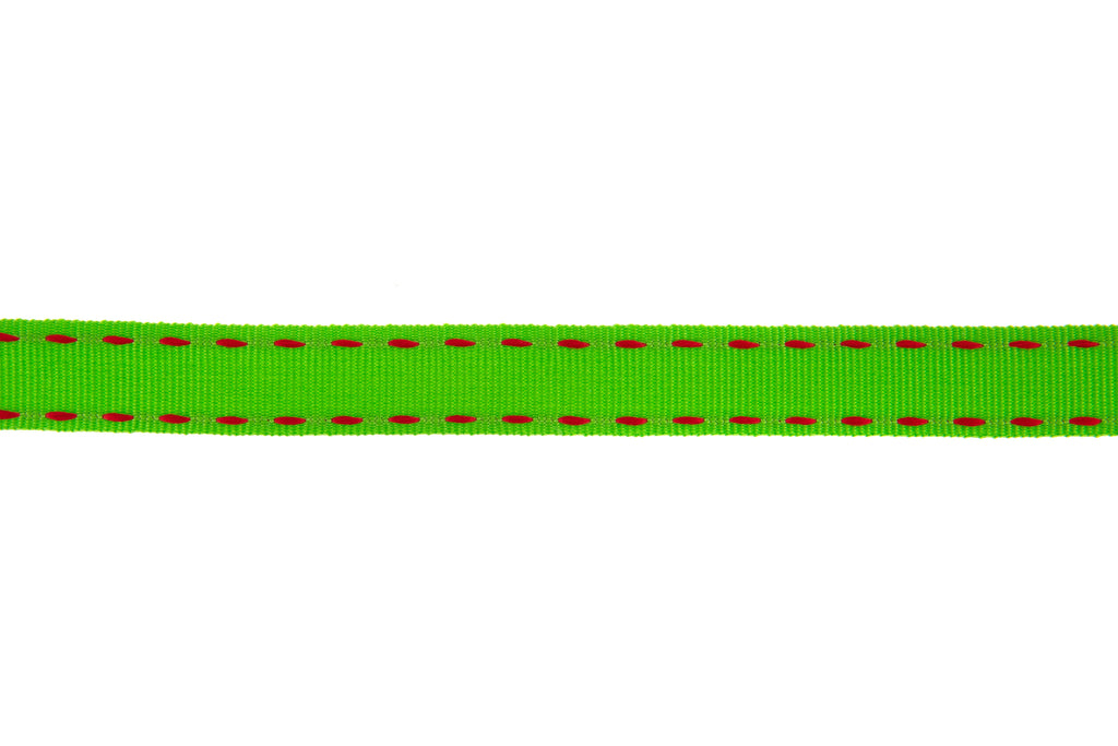 10m Roll Lime Green Ribbon with Red Stitching