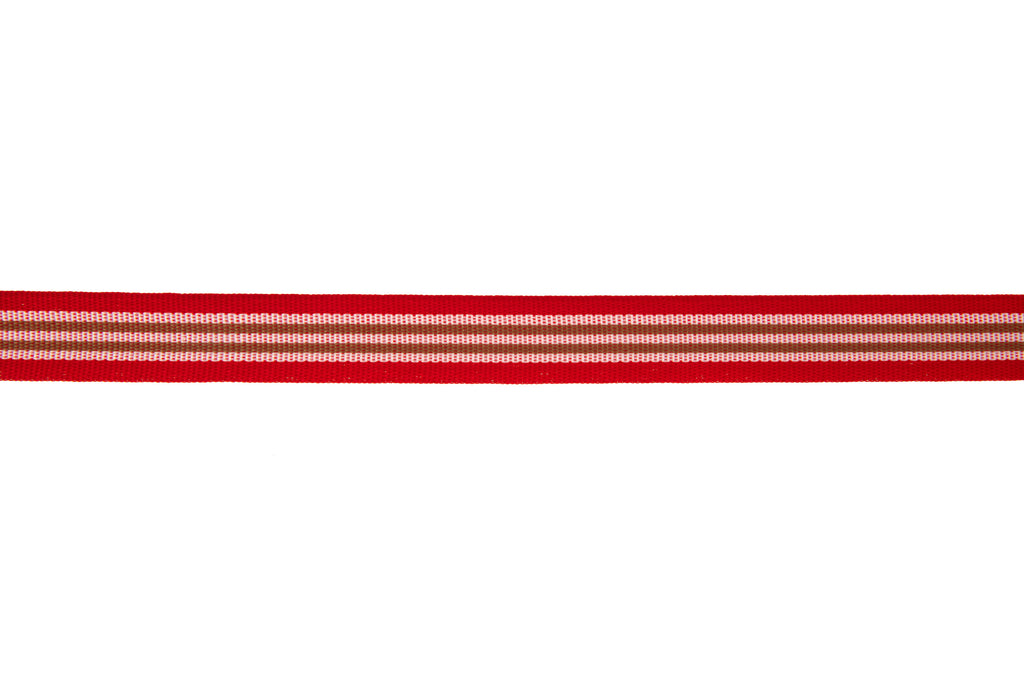 10m roll Red, White and Beige Striped Ribbon