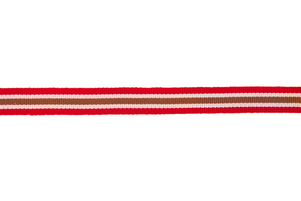 10m Roll Red, White & Beige Striped Ribbon