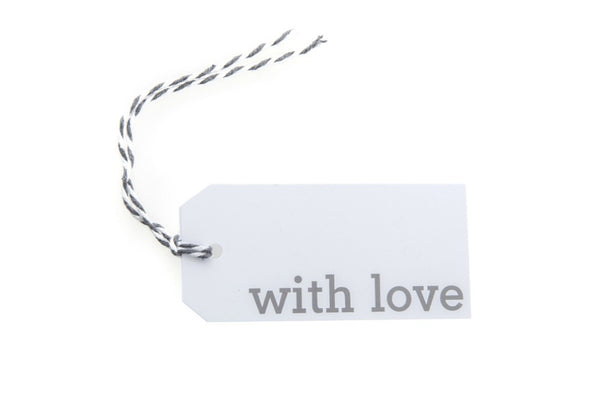 6 White With Love Gift Tags printed in Grey
