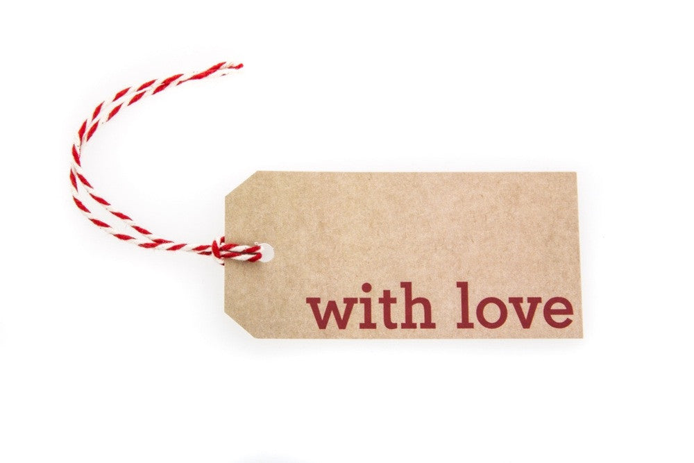 6 Brown With Love Gift Tags printed in Red ...  sc 1 st  Sophies Ribbons & 6 Brown With Love Gift Tags printed in Red - Sophies Ribbons