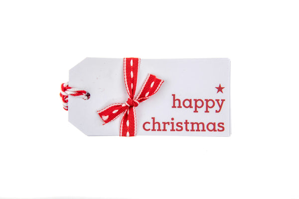 6 White Happy Christmas Gift Tags printed in Red