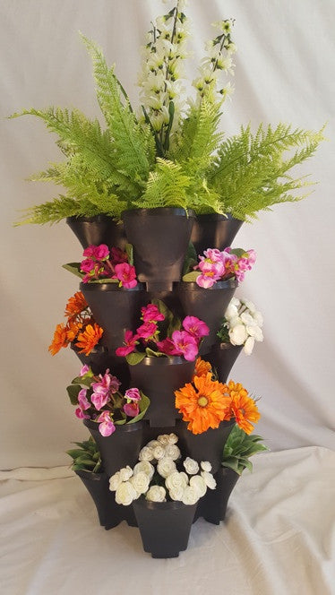 OnederGrow™ Stackable Planter, 5 Tiers with Drip Tray ~ BLACK (Flowers/Plants not included)