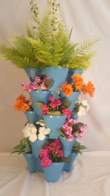 OnederGrow™ Stackable Planter, 5 Tiers with Drip Tray ~ BLUE (Flowers/Plants not included)