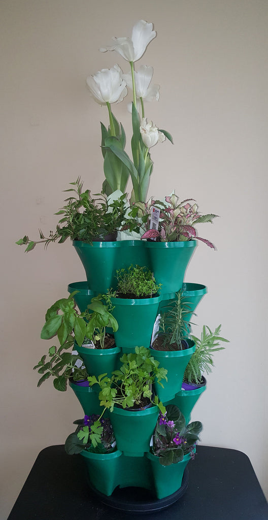 OnederGrow™ Stackable Planter, 5 Tiers with Drip Tray ~ GREEN (Flowers/Plants not included)