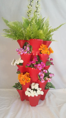 OnederGrow™ Stackable Planter, 5 Tiers with Drip Tray ~ RED (Flowers/Plants not included)