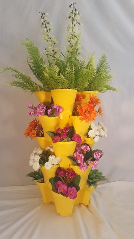 OnederGrow™ Stackable Planter, 5 Tiers with Drip Tray ~ YELLOW (Flowers/Plants not included)