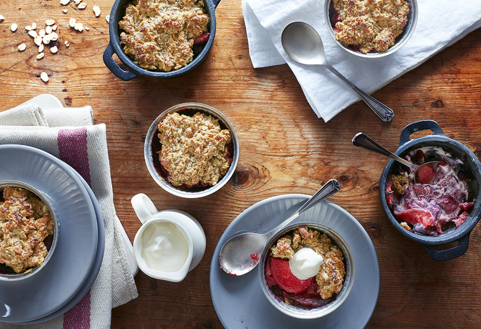 Apple & plum crumble with oat & seed topping