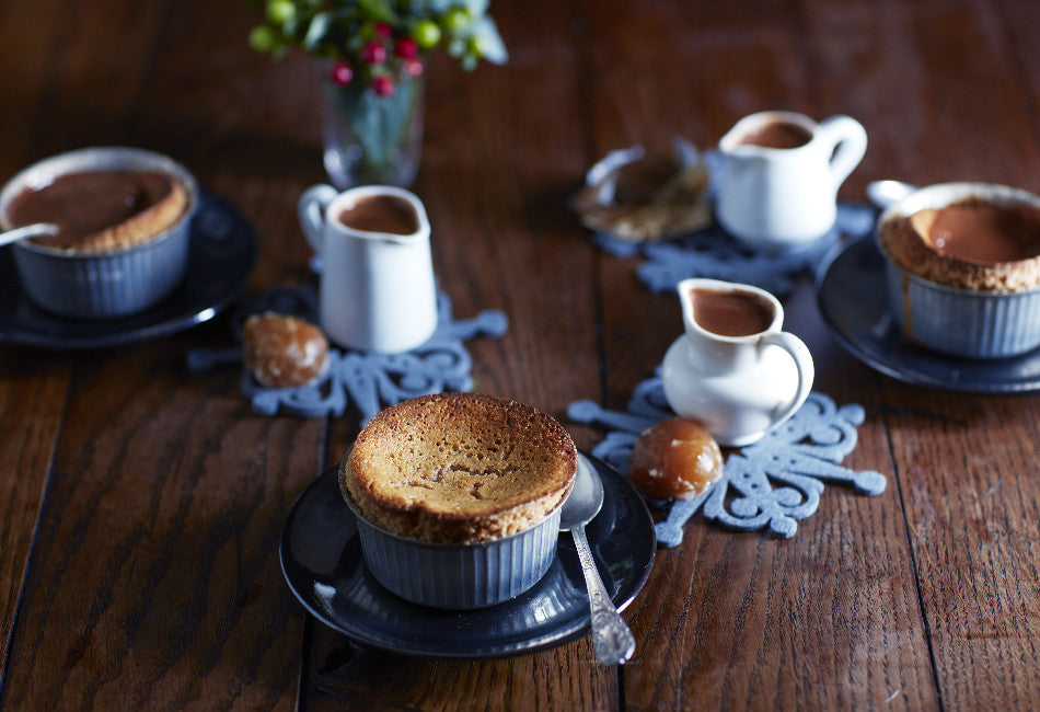 Chestnut soufflé with chocolate & Armagnac sauce