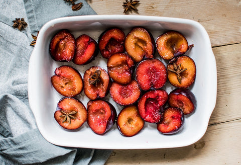 Poached nectarines in apple juice