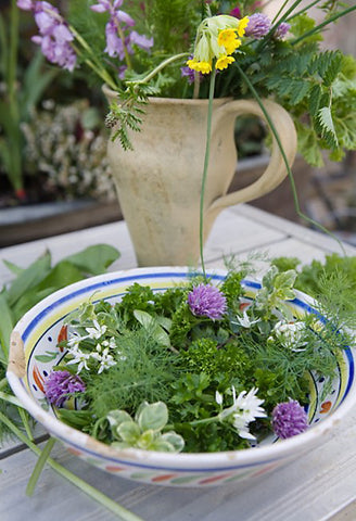 Fresh flowering herbs