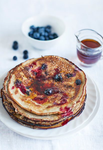 American buckwheat blueberry and prune pancakes