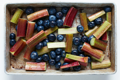 rhubarb and blueberries