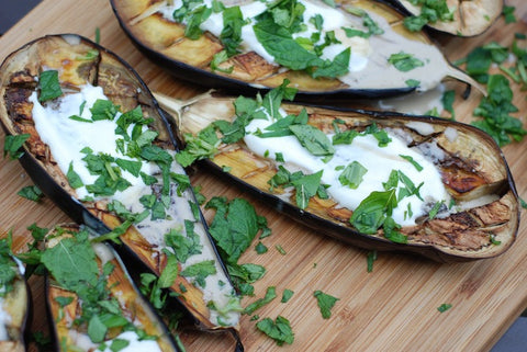 Roasted aubergines with tahini