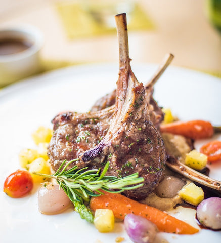 lamb chops with spring vegetables