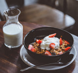 breakfast granola with milk