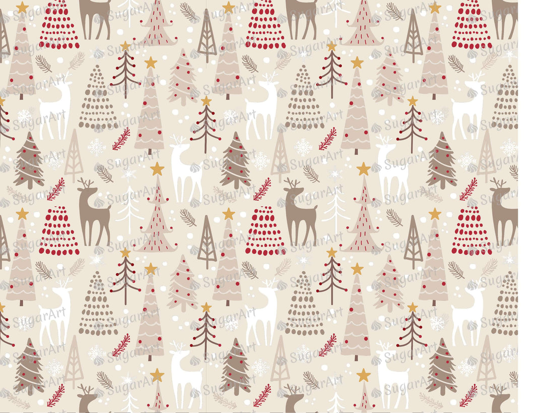 Winter Woodland Pattern Decoration - Icing - ISA113 - Sugar, Frosting Paper, Sugar Art