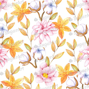 Fall Watercolor Pattern With Cotton Flowers - Icing - ISA114 - Sugar, Frosting Paper, Sugar Art