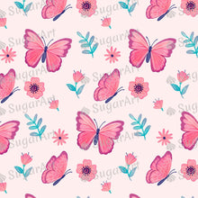 Load image into Gallery viewer, Pink Butterflies Pattern - Icing - ISA116 - Sugar, Frosting Paper, Sugar Art
