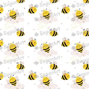 Cute Bees and Orange Honeycomb - Icing - ISA119 - Sugar, Frosting Paper, Sugar Art