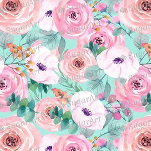 Rose Watercolor Wallpaper- Icing - ISA121 - Sugar, Frosting Paper, Sugar Art