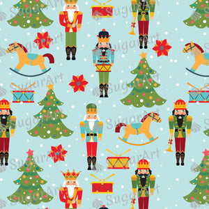 Christmas Pattern with Nutcrackers Trees - Icing - ISA123 - Sugar, Frosting Paper, Sugar Art