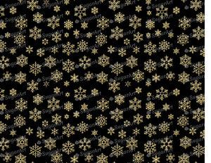 Golden Snowflakes on Black Background - Icing - ISA128 - Sugar, Frosting Paper, Sugar Art