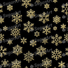 Load image into Gallery viewer, Golden Snowflakes on Black Background - Icing - ISA128 - Sugar, Frosting Paper, Sugar Art