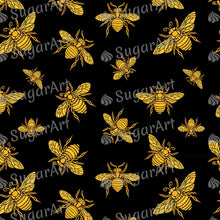 Load image into Gallery viewer, Hohey Bee Golden Embroidery Pattern - Icing - ISA133 - Sugar, Frosting Paper, Sugar Art