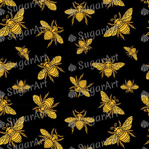 Hohey Bee Golden Embroidery Pattern - Icing - ISA133 - Sugar, Frosting Paper, Sugar Art