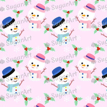 Load image into Gallery viewer, Cute Snowman Pink Background - Icing - ISA144 - Sugar, Frosting Paper, Sugar Art