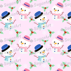 Cute Snowman Pink Background - Icing - ISA144 - Sugar, Frosting Paper, Sugar Art