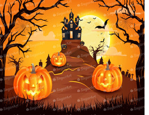 Spooky Castle with Pumpkins Halloween - Icing - ISA152
