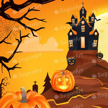 Load image into Gallery viewer, Spooky Castle with Pumpkins Halloween - Icing - ISA152