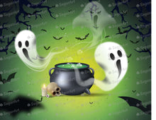 Load image into Gallery viewer, Melting Pot and Ghost Halloween Background - Icing - ISA155