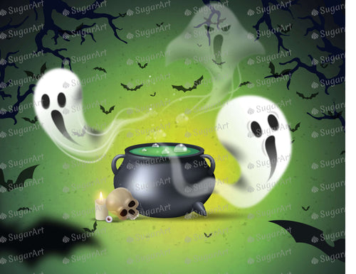 Melting Pot and Ghost Halloween Background - Icing - ISA155