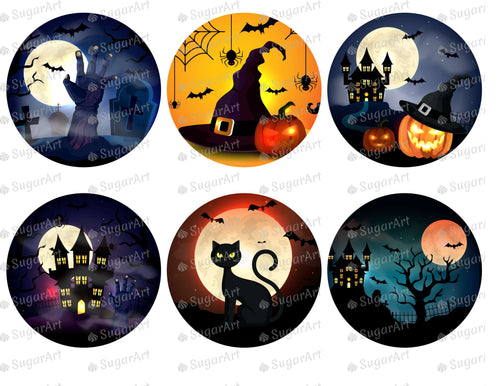 Six Circles with Halloween Scenes - Icing - ISA156