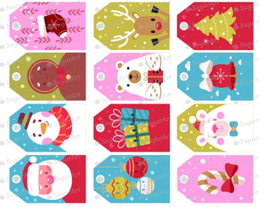 Collection of 12 Winter Labels - Icing - ISA159 - Sugar Art Canada - Sugar Sheets