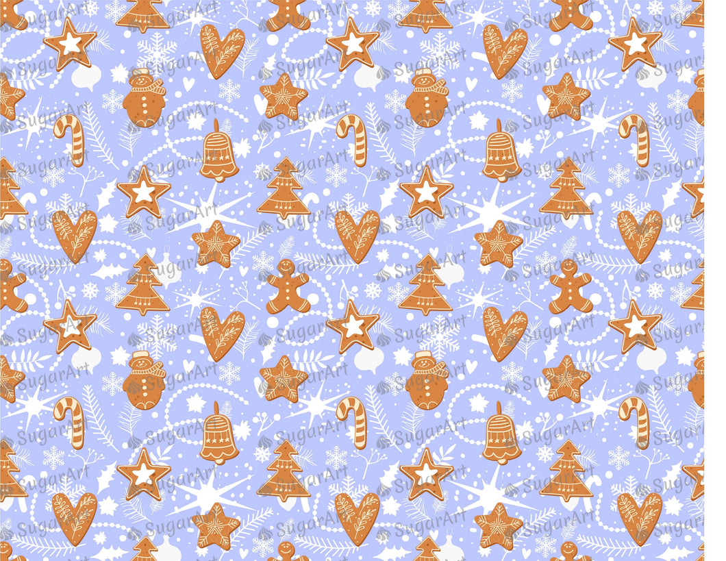Gingerbread Cookies On Blue Background - Icing - ISA169