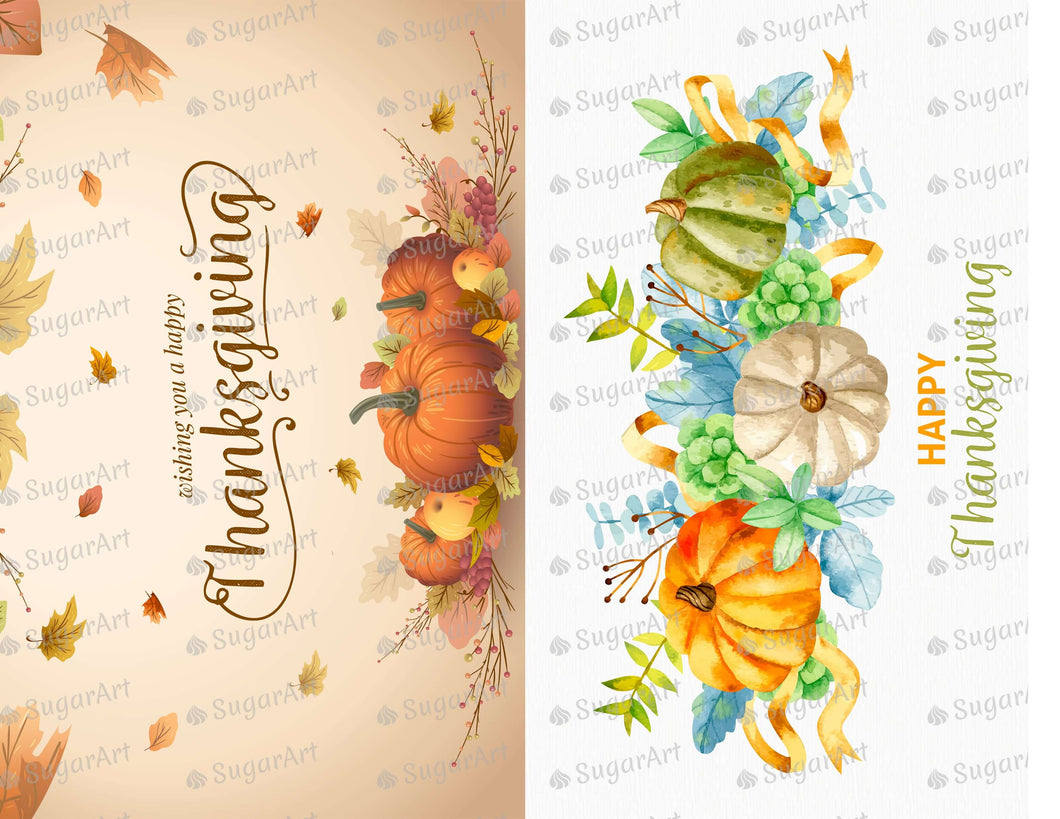 Watercolor Happy Thanksgiving set of 2 - Icing - ISA174
